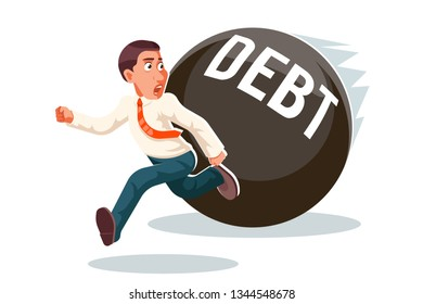 Banking economic crisis run away businessman debt escape attempt scared stress isolated character cartoon vector illustration