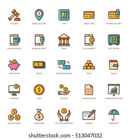 Banking and Finance icon set, linear color style.
