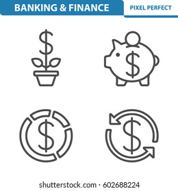 Banking & Finance Icons. Professional, pixel perfect icons optimized for both large and small resolutions. EPS 8 format. 5x size for preview.