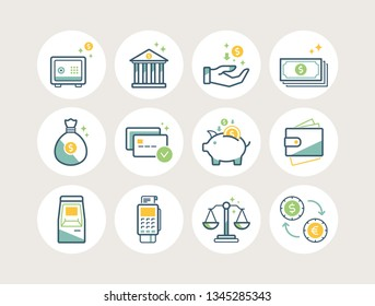 Banking and finance line icons set with safe, bank, income, cash, bag, payment, piggy bank, wallet, cash machine, pos terminal, money exchange.