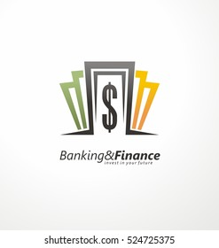 Banking and finance logo design layout with money bills and dollar sign.
