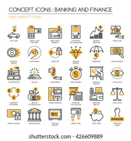Banking and Finance , Thin Line and Pixel Perfect Icons