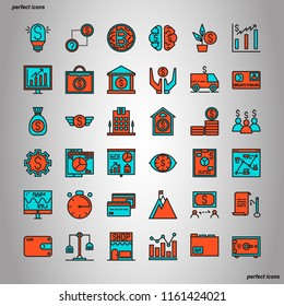 Banking and Financial Color Line Icons perfect pixel. Use for website, template,package, platform. Concept object UI,UX design.
