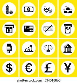 banking , flat vector mono symbols icons