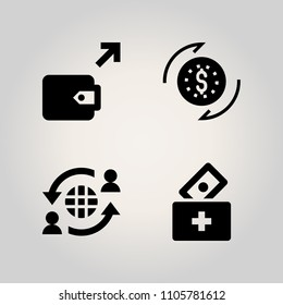 Banking icon set. give, aid, purchase and account illustration vector icons for web and design