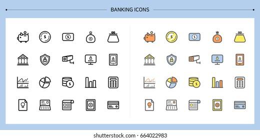 Banking icons.