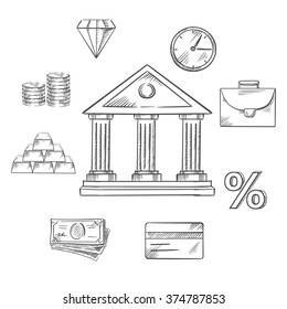 Banking icons with central bank building encircled with icons of money, gold bullion, briefcase, clock, diamond, commodities, investment, credit card and rate percentage. Vector sketch