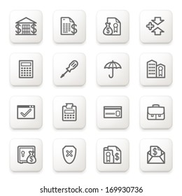 Banking icons on white buttons.