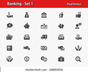 Banking Icons. Professional, pixel perfect icons optimized for both large and small resolutions. EPS 8 format.