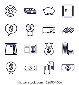 Banking icons set. set of 16 banking outline icons such as atm, pig, dollar, money dollar, money tree, creadit card payment, gold bar, credit card, ATM, coin