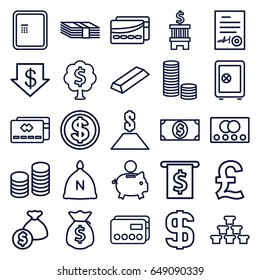 Banking icons set. set of 25 banking outline icons such as credit card, atm, sack, safe, dollar down, gold, signed document, card, coin, dollar, money tree, piggy bank, bank