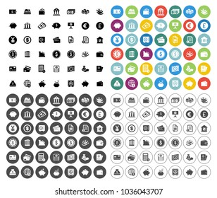 banking icons set - business, finance & money vector currency