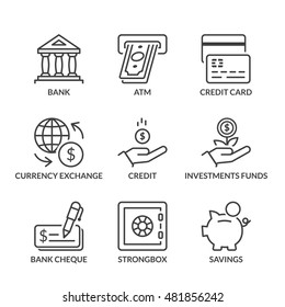 banking icons set, thin line, black color