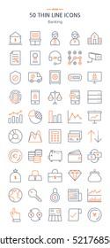 Banking icons set. Thin line icons.