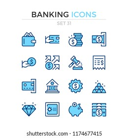 Banking icons. Vector line icons set. Premium quality. Simple thin line design. Modern outline symbols, pictograms.