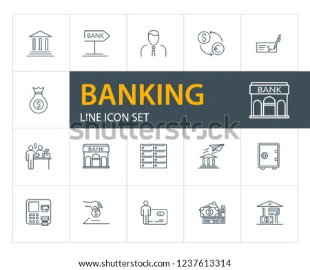 Banking Line Icon Set Safe Transaction Stock Vector (Royalty Free