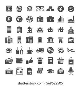 Banking and merchant universal icons. Icon set for website and app. Vector illustration