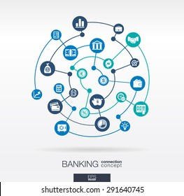 Banking network. Circles abstract background with lines and integrate flat icons. Connected symbols for money, card, bank, business and  finance concepts. Vector interactive illustration