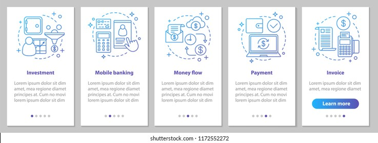 Banking onboarding mobile app page screen with linear concepts. Financial services. Money flow, payment, investment, mobile banking, invoice steps instructions. UX, UI, GUI vector illustrations