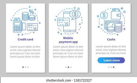 Banking onboarding mobile app page screen with linear concepts. Financial services. Credit card, cash, mobile payment app steps graphic instructions. UX, UI, GUI vector template with illustrations