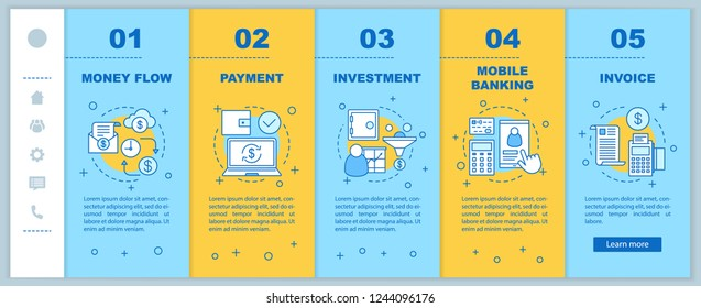 Banking onboarding mobile web pages vector template. Financial services. Money flow, payment, investment, mobile banking, invoice. Responsive smartphone website interface. Webpage walkthrough screens