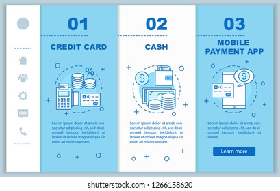 Banking onboarding mobile web pages vector template. Financial services. Credit card, cash, mobile payment app. Responsive smartphone website interface. Webpage walkthrough step screens. Color concept