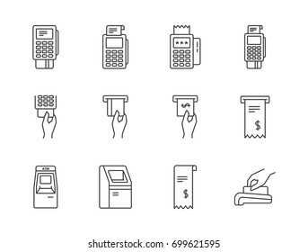 Banking, payment methods and finance related line icons set with pos terminal, ATM machine, credit card, receipt.