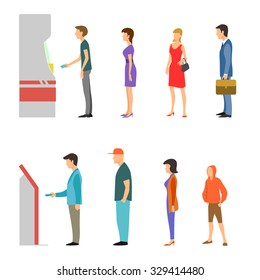 Banking payment vector flat infographic. Line of men and women at ATM and terminal. Bank financial cash, withdrawal money salary illustration