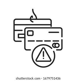 Banking scam black line icon. Credit card phishing. Illegal action. Financial fraud. Pictogram for web page, mobile app, promo. UI UX GUI design element.