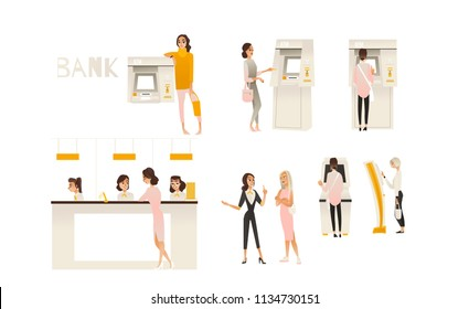 Banking service office concept set. Young girl client communicating with bank managers at reception, customers ATM cash machine money withdrawal scenes. Vector illustration.