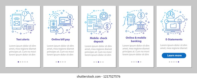 Banking service onboarding mobile app page screen with linear concepts. Online payment walkthrough steps graphic instructions. Financial management. UX, UI, GUI vector template with illustrations