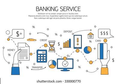 Banking service outline concept,  deposit, credit, money transfer. Vector illustration.