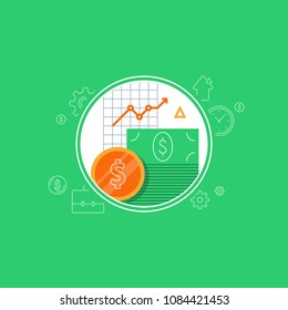 Banking services, financial report diagram, return on investment, budget planning, income growth, mutual fund, retirement savings account, superannuation, finance loan, vector flat icon
