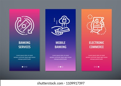 Banking services, Mobile banking, Electronic commerce Vertical Cards with strong metaphors. Template for website design.