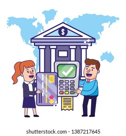 Banking teamwork financial planning dataphone