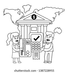 Banking teamwork financial planning dataphone black and white