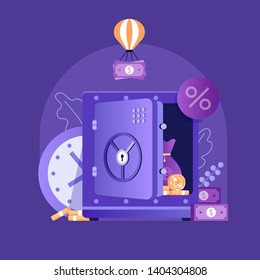 Banking term deposit concept with unlocked moneybox, banknotes and coins. Longterm money saving finance illustration with opened safe in flat design.