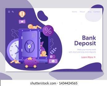 Banking term deposit landing page template with unlocked moneybox, banknotes and coins. Longterm money saving finance web banner illustration with opened safe in flat design.