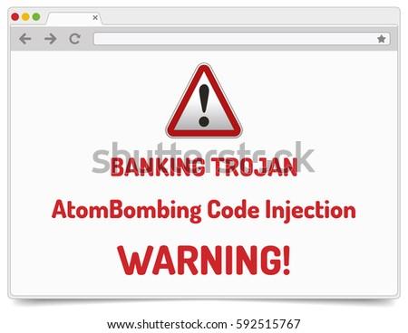 Banking Trojan Warning Sign Atom Bombing Bank Stock Vector (Royalty