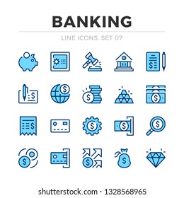 Banking vector line icons set. Thin line design. Outline graphic elements, simple stroke symbols. Banking icons