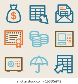 Banking web icons, vintage series