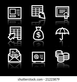 Banking white contour web icons