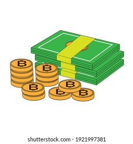 Banknote and coin vector art