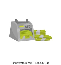 Banknote counter. Electronic machine for counting money. Stacks of paper cash. Financial theme. Flat vector design