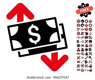 Banknotes Spending icon with bonus tools clip art. Vector illustration style is flat iconic bicolor symbols, intensive red and black colors, white background.