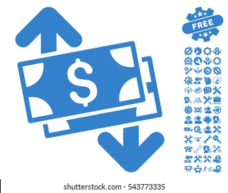 Banknotes Spending icon with bonus tools images. Vector illustration style is flat iconic symbols, cobalt color, white background.