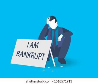 I am a bankrupt. Business concept vector illustration.