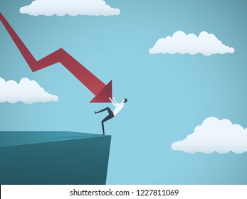 Bankrupt businessman falling off a cliff, pushed by downward arrow. Symbol of bankruptcy, failure, recession, crisis and financial losses on stock exchange market. Eps10 vector illustration.