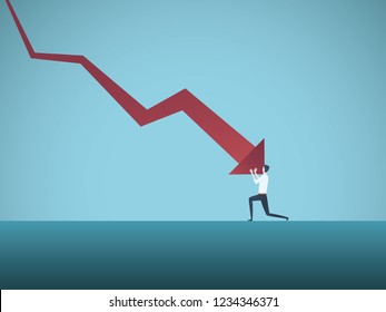 Bankrupt businessman pushed by downward arrow vector concept. Symbol of bankruptcy, failure, recession, crisis and financial losses on stock exchange market. Eps10 vector illustration.