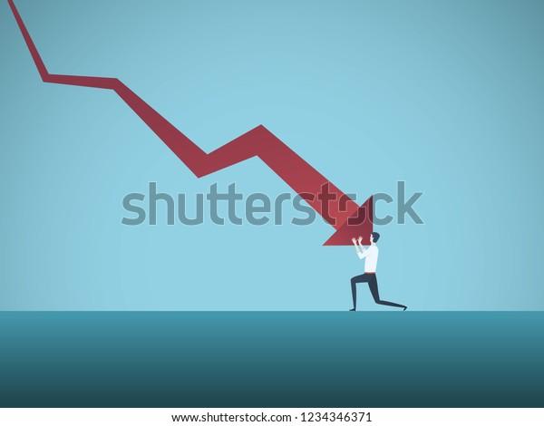 Bankrotter Geschäftsmann, gedrängt von einem nach unten gerichteten Vektorkonzept. Symbol für Konkurs, Versagen, Rezession, Krise und finanzielle Verluste auf den Börsen. Eps10 Vektorgrafik.